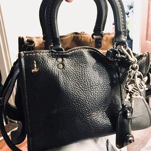 COACH CHARCOAL ROGUE HANDBAG WITH KEYCHAIN
